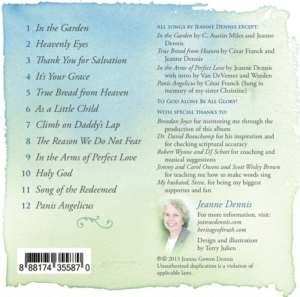 In the Arms of Perfect Love CD Back Cover