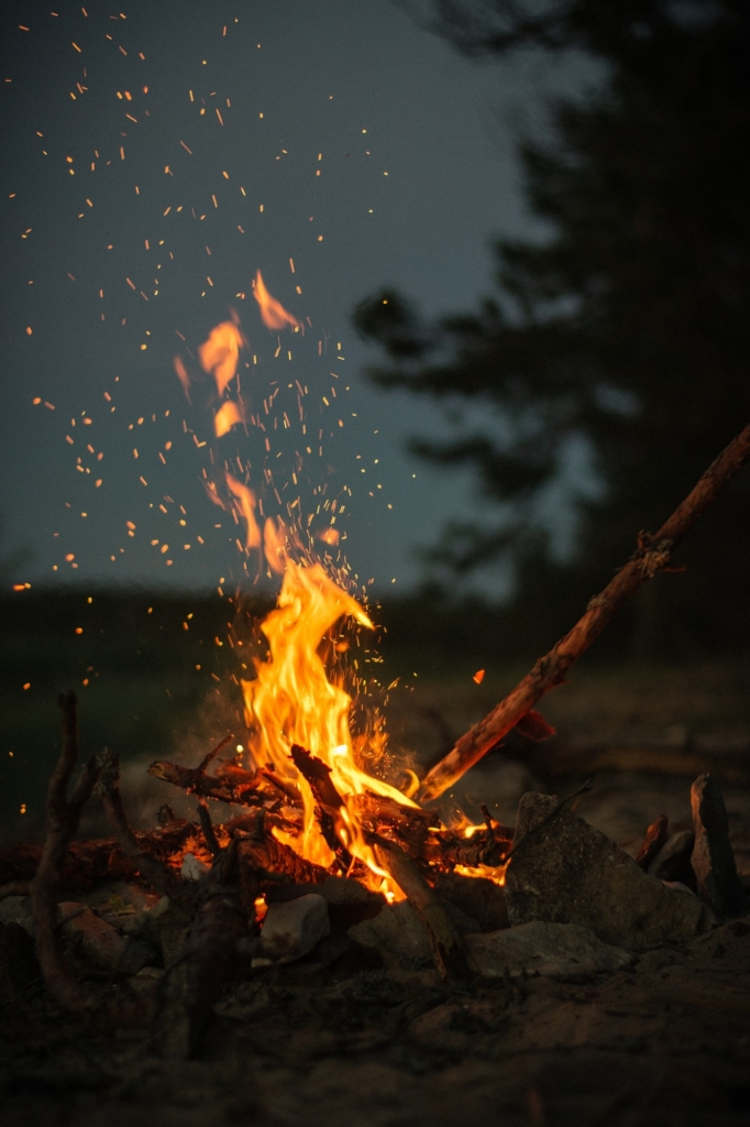 Campfire with sparks