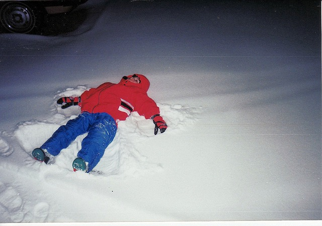 Making snow angel